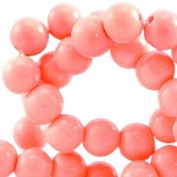 Glaskraal. 4mm. Rond. Light Coral red. Opaque. 100 stuks voor.
