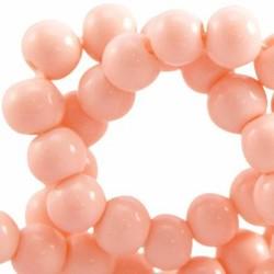 Glaskraal. 4mm. Rond. Rose Peach. Opaque. 100 stuks voor.