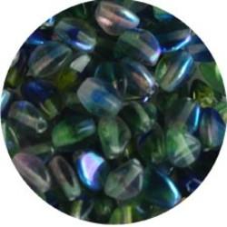 Pinch Bead. 3x5mm. Crystal Blue Green AB.