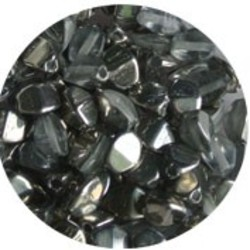 Pinch Bead. 3x5mm. Crystal half Chrome.