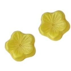 Glasperle. Blumen 14mm. Regal. Loch in der Mitte. Yellow Pearl.