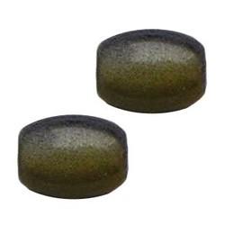 Glasperle. 7x11mm. Oval. Grau Gelb