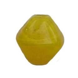 Glasperle. 10mm. Pyramide. Gelb