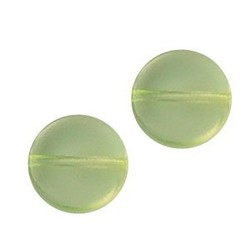 Glasperle. 10mm. Round Flat. Hellgelb.