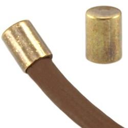 Endkappe. 3x4mm. Für Schnur 2mm. Bronze farbige