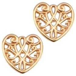 Openwork heart pendant. Rose-colored 13mm.
