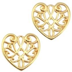 Openwork heart pendant. Gold 13mm.