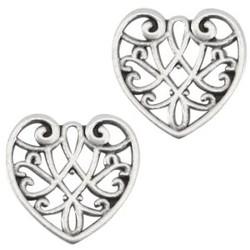 Openwork heart pendant. Silver 13mm.