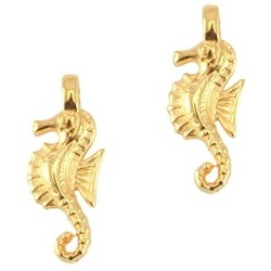 Pendant Seahorse. Gold 8x21mm.