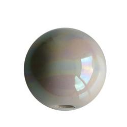 Keramikperlen. 24mm. Weiß Regenbogen. großes Loch