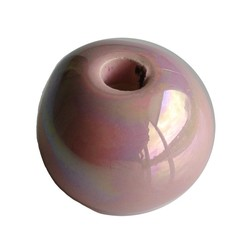 Keramikperlen. 24mm. Hellrosa Regenbogen. großes Loch
