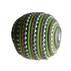 String Bead. 20mm. Grün Braun mit Silber. großes Loch