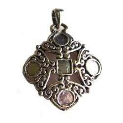 Metal pendant 44x56mm. Silver-colored