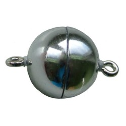 Magneetsluiting rond 12mm hoogwaardige kwaliteit glimmend zilverkleurig