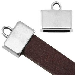 End cap. 12x13mm. For leather 10x2mm. Silver-colored