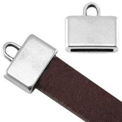 Endkappe. 12x13mm. Für Leder 10x2mm. Silberfarben