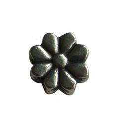 Metalen kraal bloem plat. 11mm. Zilverkleurig.