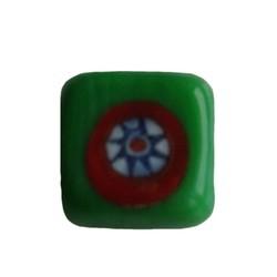 Glaskraal fantasie groen vierkant plat 13mm. 3 stuks voor
