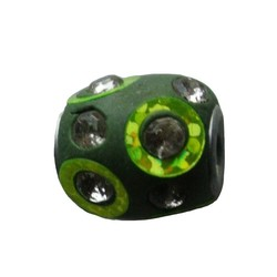 Kashmiribead. 13x15mm. Green with rhinestones. with large hole.