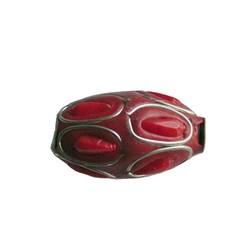 Kashmiribead 13x22mm. Red Silber mit großes Loch.