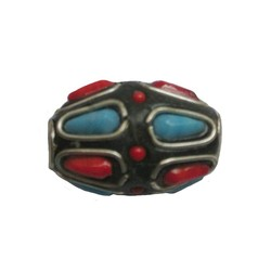 Kashmiribead 13x22mm. Red blue with large hole. Oval