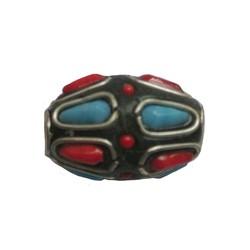 Kashmiribead 13x22mm. Rood blauw met groot gat. Ovaal