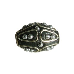 Kashmiribead 13x22mm. Black with Silver big hole. Oval