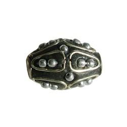 Kashmiribead 13x22mm. Schwarz mit Silber großes Loch. Oval