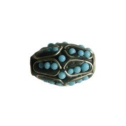 Kashmiribead 13x20mm. Black and blue with big hole. Oval