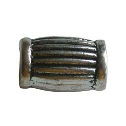 Metal bead large ribbed tube. 10x15mm. Silver.