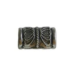 Metalen kraal grote tube vlinder. 10x17mm. Zilverkleurig. Groot rijggat