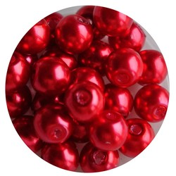 Glasparel rood 8mm 100 stuks