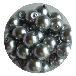 Glass Pearl 8mm light gray 100 pieces