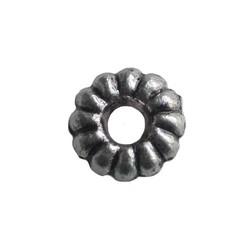 Metalen kraaltje spacer. 2x10mm. Zilverkleurig.