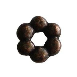Metalen kraal spacer. 9x2mm. Groot rijggat Roodkoperkleurig.