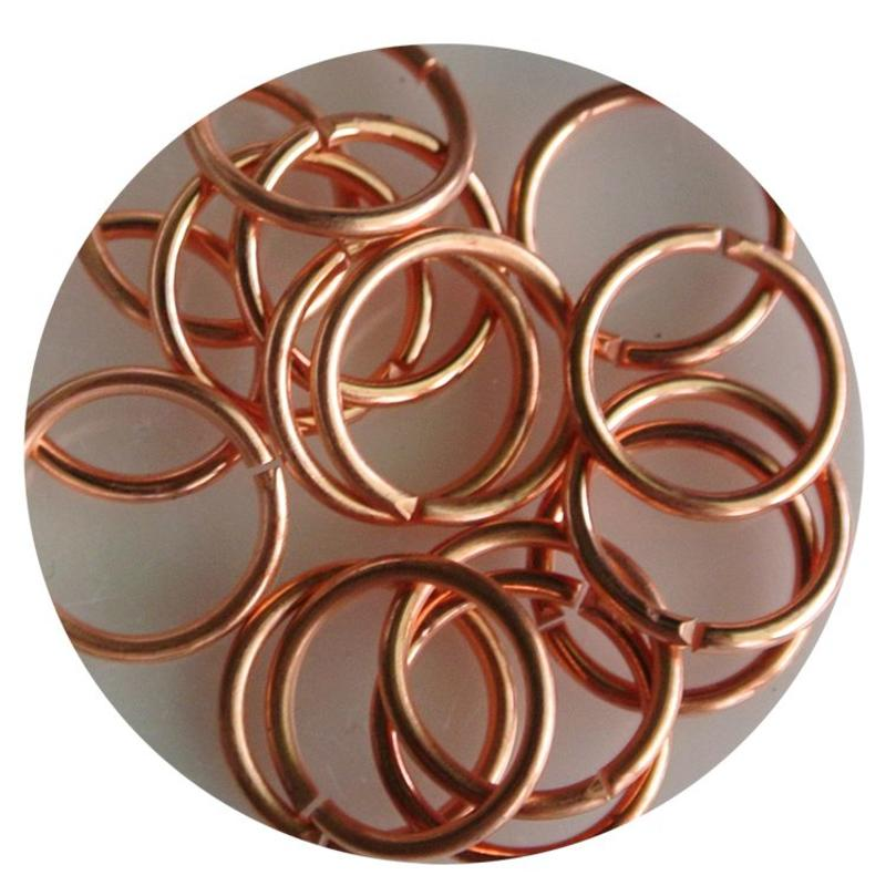 Aanbuigringetjes. 12mm. Coppery. bag with 10 pieces for