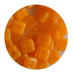 2 Hole Square Beads 6x6mm. Orange Opal