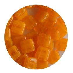 2-Loch-Platz Beads 6x6mm. Orange Opal
