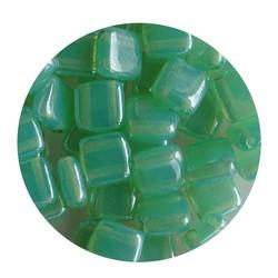 2 Hole Square Beads 6x6mm. Mint Opal