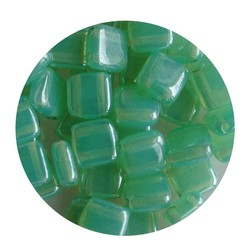 2-Loch-Platz Beads 6x6mm. Mint Opal