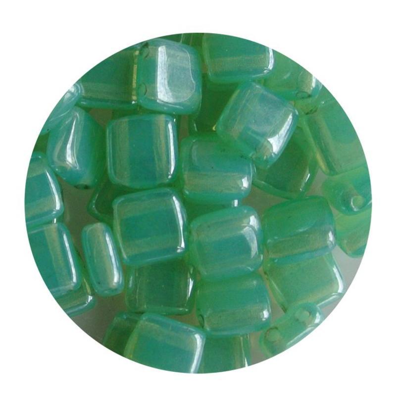 2-Loch-Platz Beads 6x6mm. Mint Opal