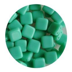 2-Loch-Platz Beads 6x6mm. Turquoise