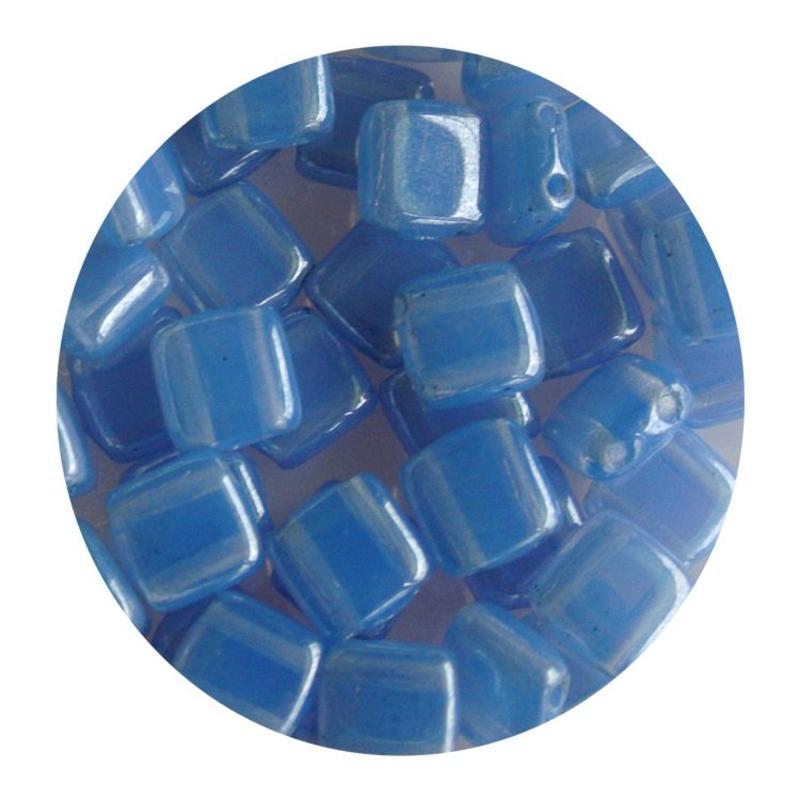 2-Loch-Platz Beads 6x6mm. Light Blue Opal