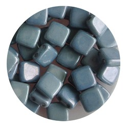 2 Hole Square Beads 6x6mm. White Blue Lustered