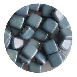 2-Loch-Platz Beads 6x6mm. Weiß Blau glänzendes