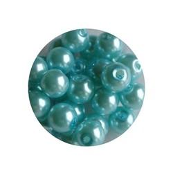 Glass bead aqua blue 6mm 100 pcs