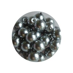 Glass Pearl 6mm light gray 100 pieces