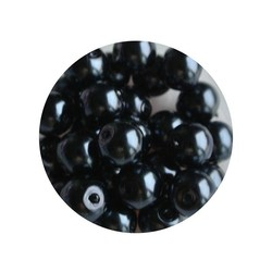 Glass Pearl 6mm antracite 100 pieces