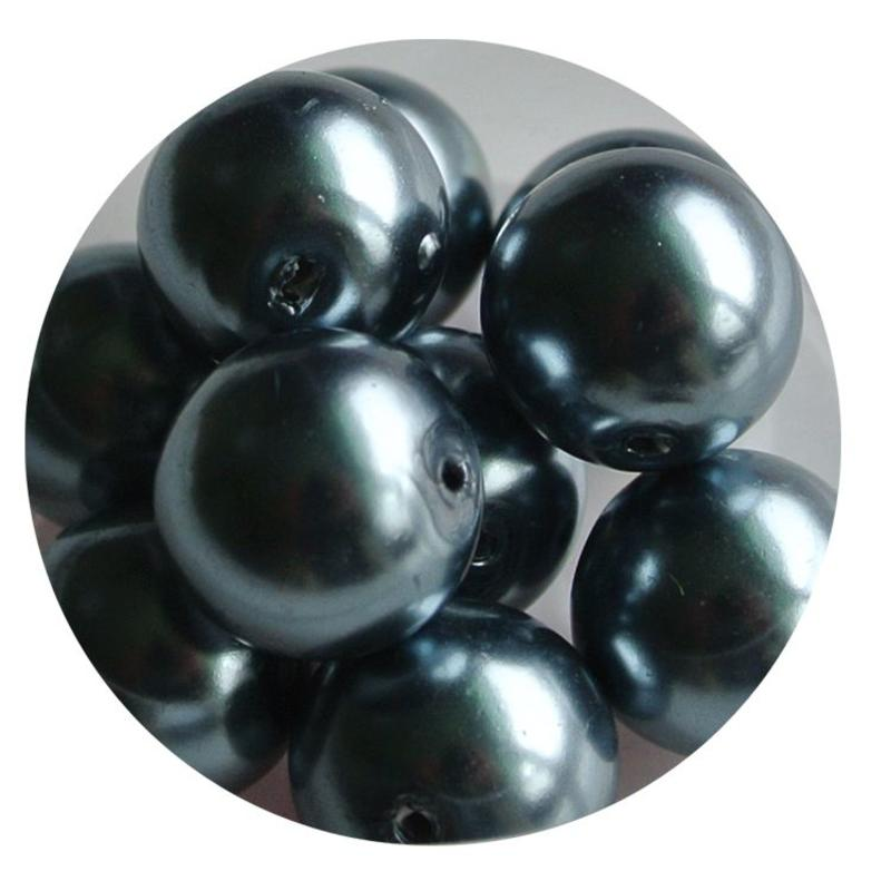 Blue-gray glass pearl 12mm