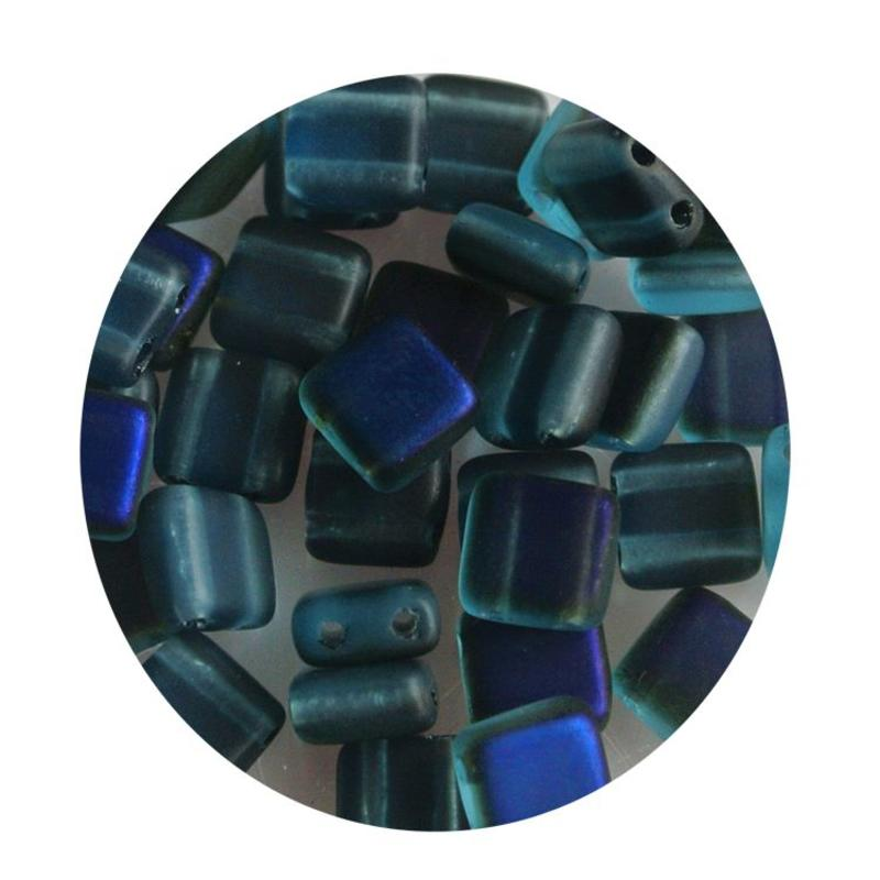 2 Hole Square Beads 6x6mm. Blue Matt Azuro